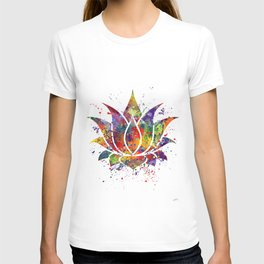 Lotus Flower 2 Watercolor Print Wall Art Wedding Gift Zen decor T-shirt