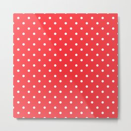 Tomato Red Polka Dots Metal Print