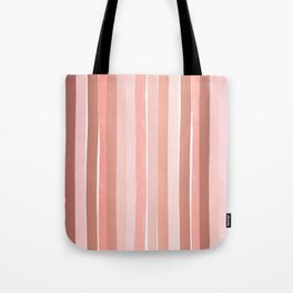 Striped minimal abstract painting modern color pinks metallics decor and art Tote Bag