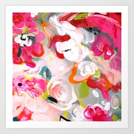 Dream flowers in pink rose floral abstract art Art Print