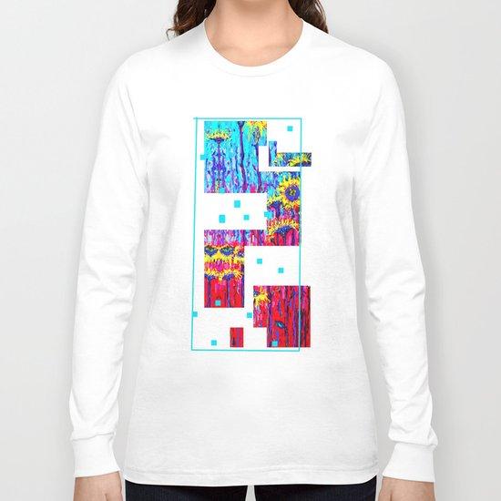 Sunflower Field  in Moonlight Abstract Long Sleeve T-shirt