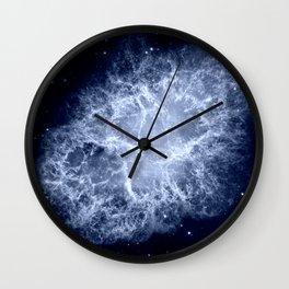 Crab Nebula Icy Dark Blue Wall Clock