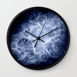 Crab Nebula Icy Dark Blue Wall Clock