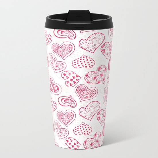 Pattern with red hearts Metal Travel Mug
