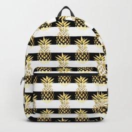 Elegant pineapple & stripes in gold black & white Backpack