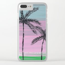 two palm trees sunset sky Clear iPhone Case
