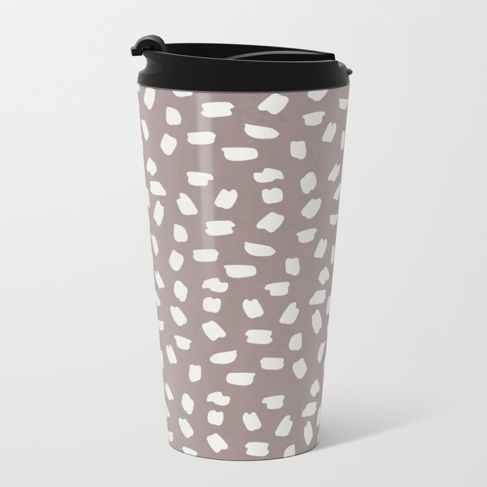 Simply Ink Splotch Lunar Gray on Red Earth Metal Travel Mug