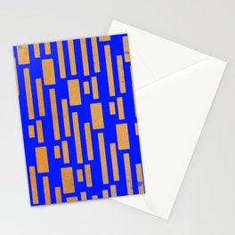 Abstract Bamboo Blue Gold Mid-Century Stationery Cards