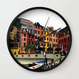 Cinque Terre, Italy Harbor in Riomaggiore/Vernazza Wall Clock