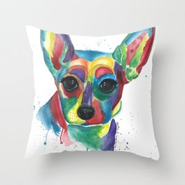 Roxy Colorful Rat Terrier Throw Pillow