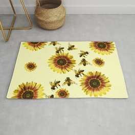 Yellow Sunflowers and Honey Bees Summer Pattern Rug