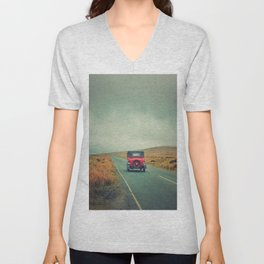 Vintage red car, Ireland Unisex V-Neck