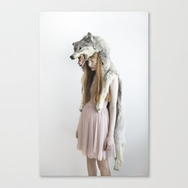 Girl with wolf Canvas Print