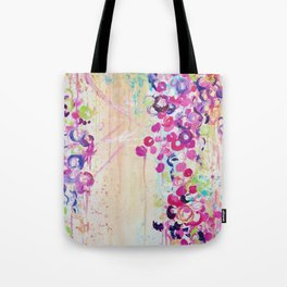 DANCE OF THE SAKURA - Lovely Floral Abstract Japanese Cherry Blossoms Painting, Feminine Peach Blue  Tote Bag