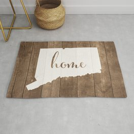 Connecticut is Home - White on Wood Rug