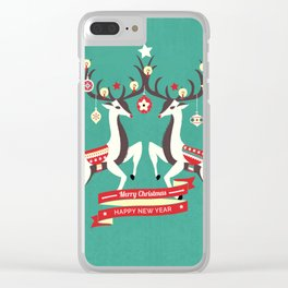 Christmas Deers with baubles Clear iPhone Case