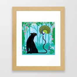 The Peacock and The Panther Framed Art Print