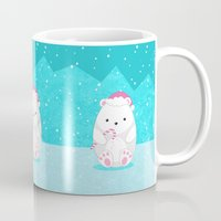 polar bear Mugs featuring Polar bear by eDrawings38
