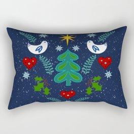Christmas Winter holidays folk art illustration design Rectangular Pillow