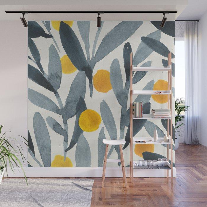 Seamless Watercolor Pattern Mystical Pattern Watercolor Floral Flowers Grey Blue Leaves Orange Fruit Wall Mural