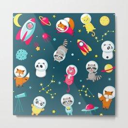 cute space animals Metal Print