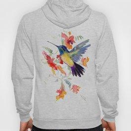 Hummingbird, floral bird art, soft colors Hoody
