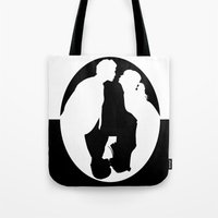 pushing daisies Tote Bags featuring Pushing Daisies silhouette kiss by Reggie Vass