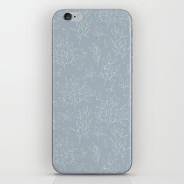 Blush blue white hand painted modern floral leaves pattern iPhone Skin