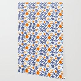 Blue and Orange Floral Feminist Killjoy Print Wallpaper