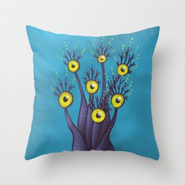 Tree Monster With Yellow Eyes | Digital Art Throw Pillow