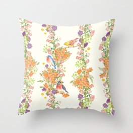 Romantic Vintage Design of Birds & Flowers - Natural colorful Throw Pillow