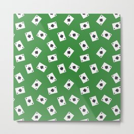 Playing cards spades suit on green Metal Print