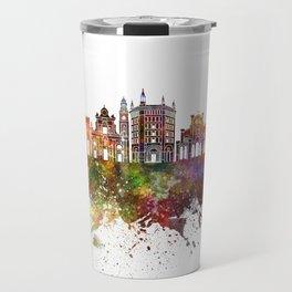 Parma skyline in watercolor background Travel Mug