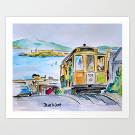 San Francisco Cable Car watercolor Art Print