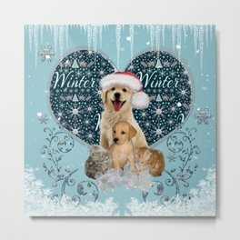It's winter and christmas time, cute kitten and dogs Metal Print