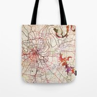 nashville Tote Bags featuring Nashville by MapMapMaps.Watercolors