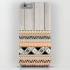 Peach Coral Andes Abstract Aztec Tribal Gray Wood Slim Case iPhone 6 Plus