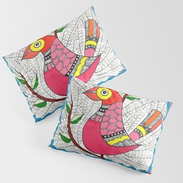 Madhubani Birds on Tree Pillow Sham