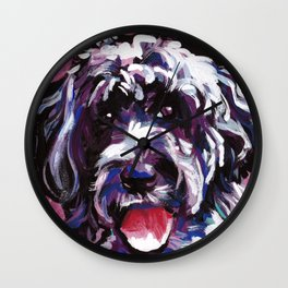 PWD Portuguese Water Dog Fun bright colorful Pop Art Dog Painting by Lea Wall Clock