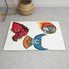 American Football and Basketball Wildlife Sports Mascot Collection Rug