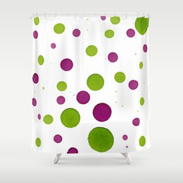 Merry Dots For Christmas With Random Green and Magenta Ink Polka Dots Shower Curtain