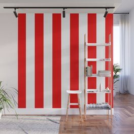 Holidaze Stripe Red White Vertical Wall Mural