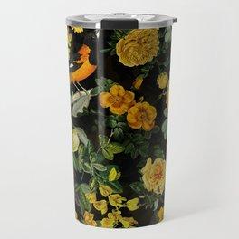 Vintage & Shabby Chic - Night Botanical Bird and Flower Garden Travel Mug