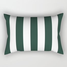Medium jungle green -  solid color - white vertical lines pattern Rectangular Pillow