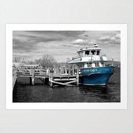 Blue Boat Color Pop  Art Print