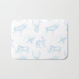 Woodland Critters in Winter Blue Bath Mat