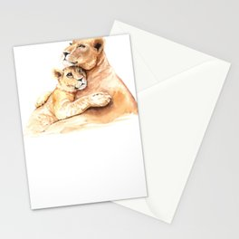 Mother and Baby Animals Watercolor Lion Mom and Lion Baby Lions Stationery Cards