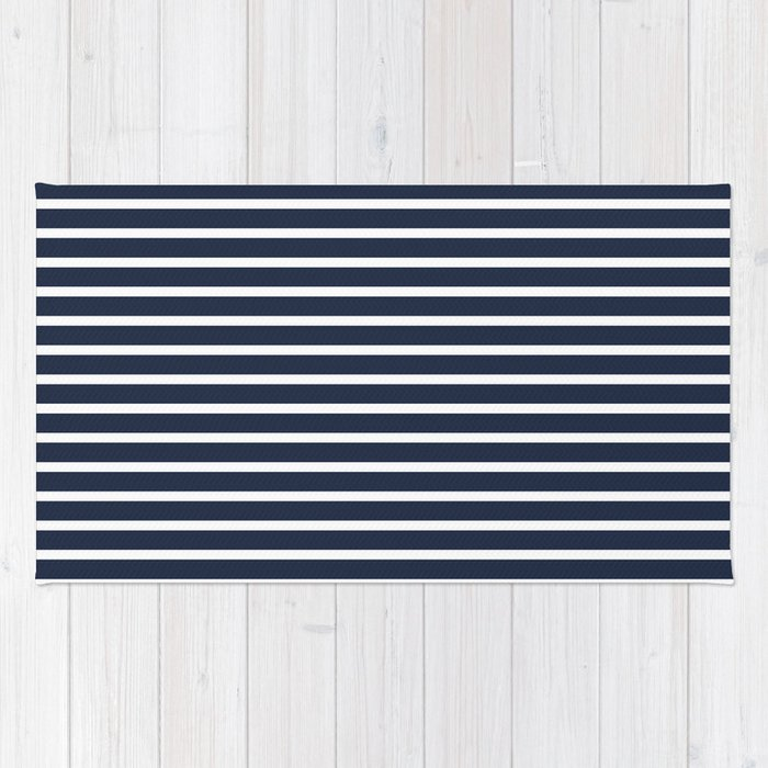 64446fcd554 Nautical Navy and White Horizontal Stripes Rug by leahmcphail