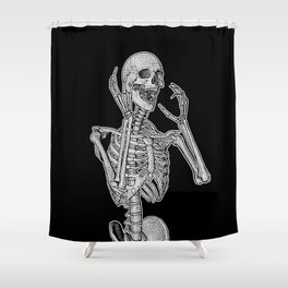 Skeleton screaming in horror Shower Curtain