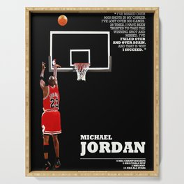 Michael Jor-dan last shot, Chi-cago Bulls poster, Canvas, Decor art for Gym, Kids gift, Bedroom, Office Decor, mancave with quote / citation Serving Tray